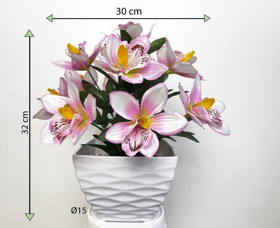 Umělá květina - orchidej v květináči - růžovo-bílá, 32 cm