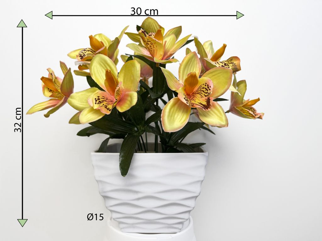 Umělá květina - orchidej v květináči - žlutá, 32 cm