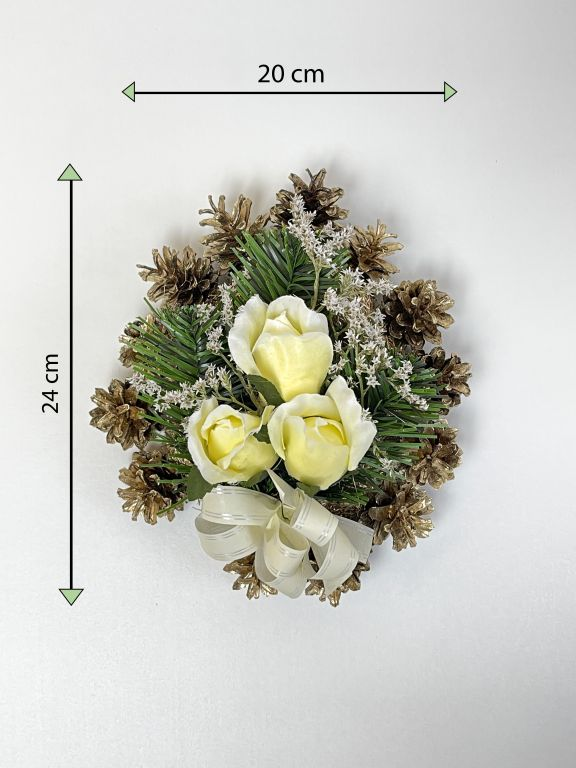 Smuteční květina ve tvaru srdce, malá, krémová