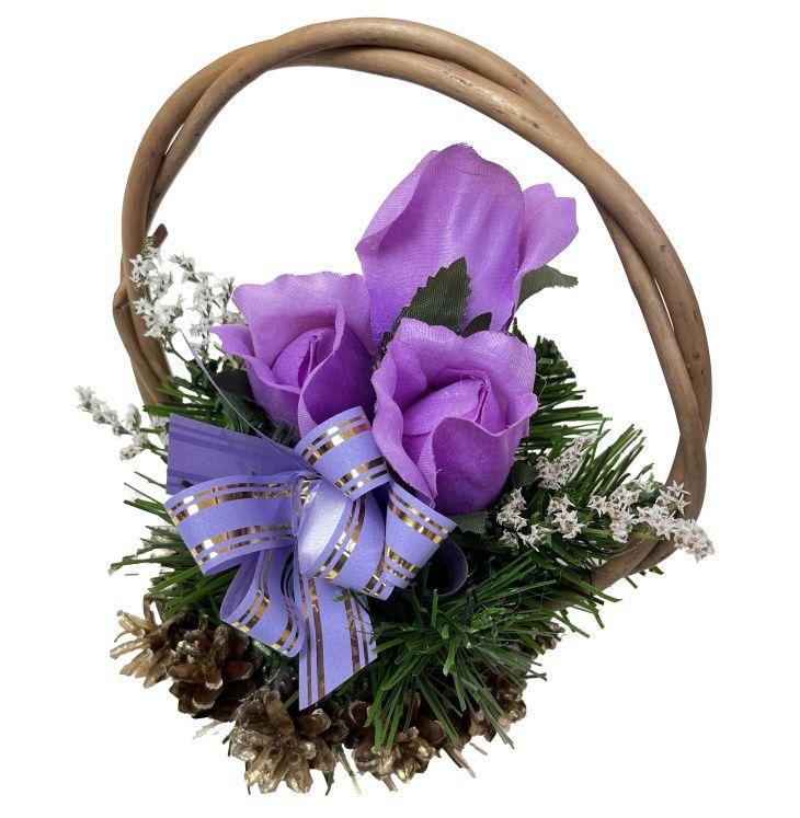 Květinový košík střední velikosti, fialový