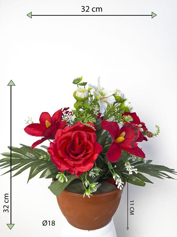 Dekorativní miska s umělou růží a orchidejí, červená, 32 cm