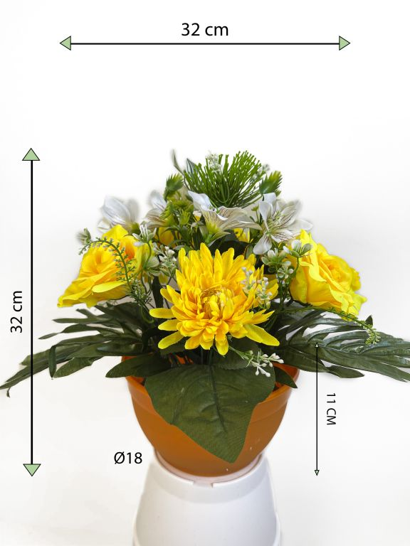 Dekorativní miska s umělou chryzantémou a růží, žlutá, 32 cm