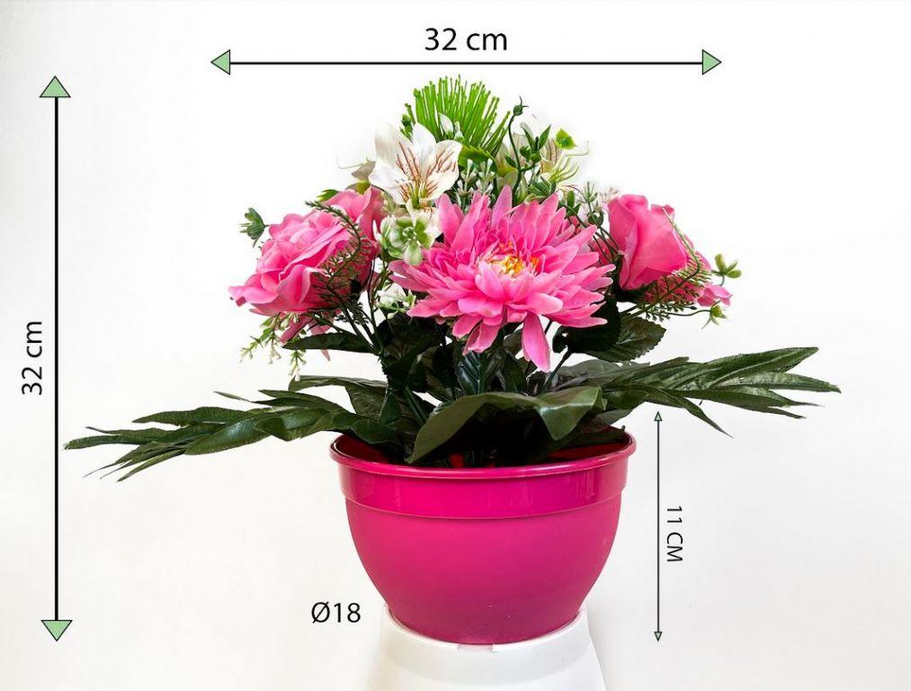 Dekorativní miska s umělou chryzantémou a růží, sv. růžová, 32 cm