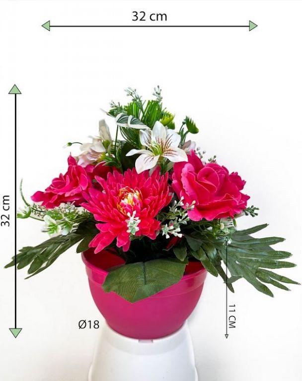 Dekorativní miska s umělou chryzantémou a růží, růžová, 32 cm