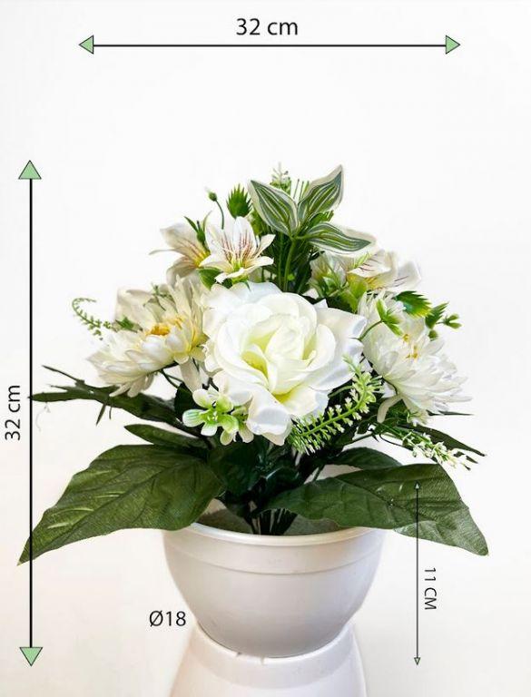 Dekorativní miska s umělou chryzantémou a růží, bílá, 32 cm