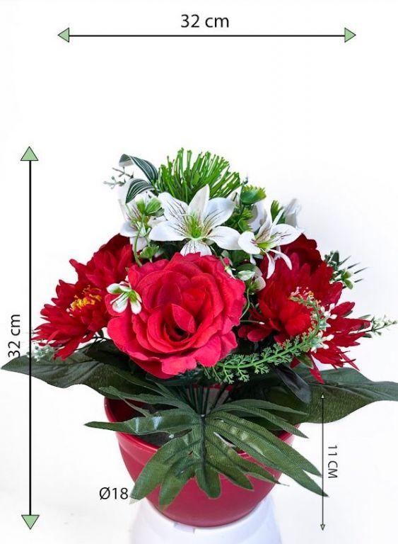 Dekorativní miska s umělou chryzantémou a růží, červená, 32 cm