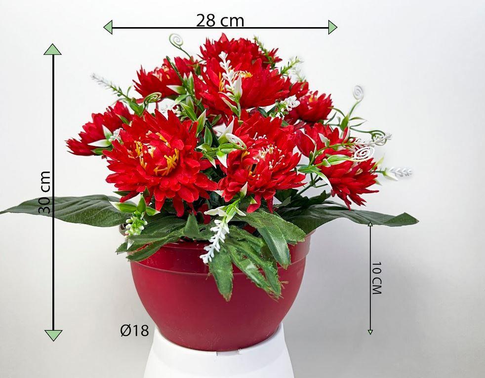 Dekorativní umělá chryzantéma v květináči, červená, 30 cm