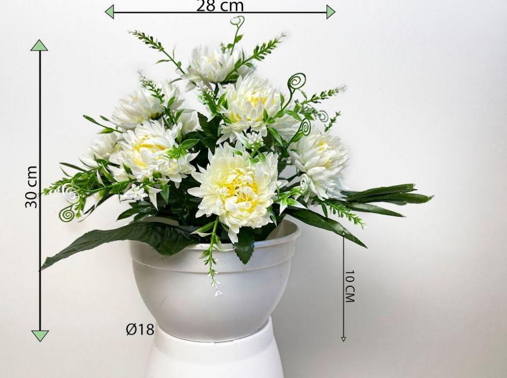 Dekorativní umělá chryzantéma v květináči, bílá, 30 cm