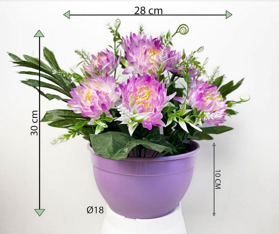 Dekorativní umělá chryzantéma v květináči, fialová, 30 cm