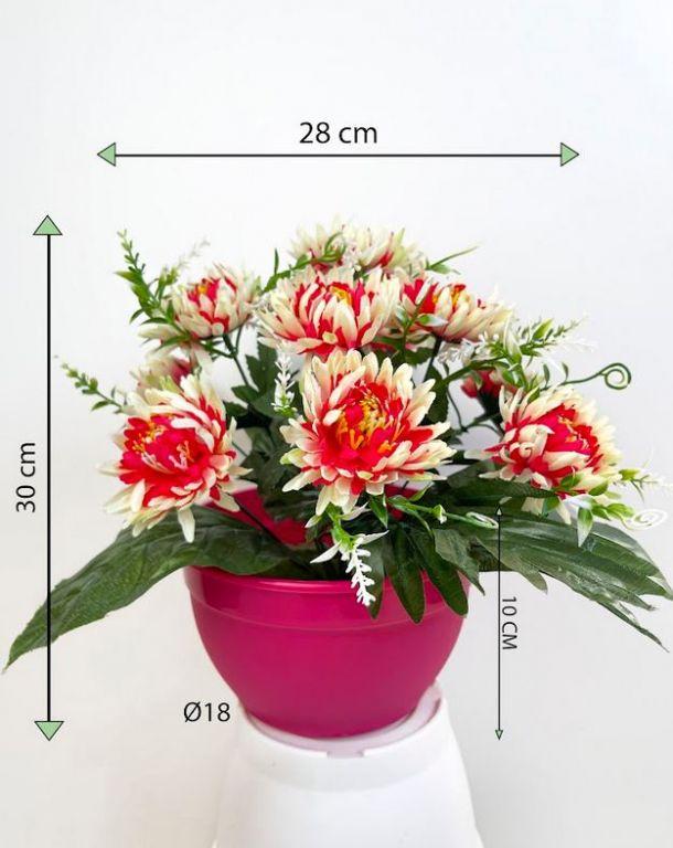 Dekorativní umělá chryzantéma v květináči, růžovo-bílá, 30 cm