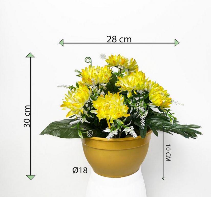 Dekorativní umělá chryzantéma v květináči, žlutá, 30 cm