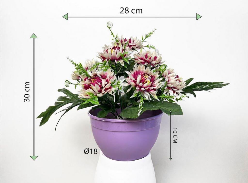 Dekorativní umělá chryzantéma v květináči, červeno-bílá, 30 cm