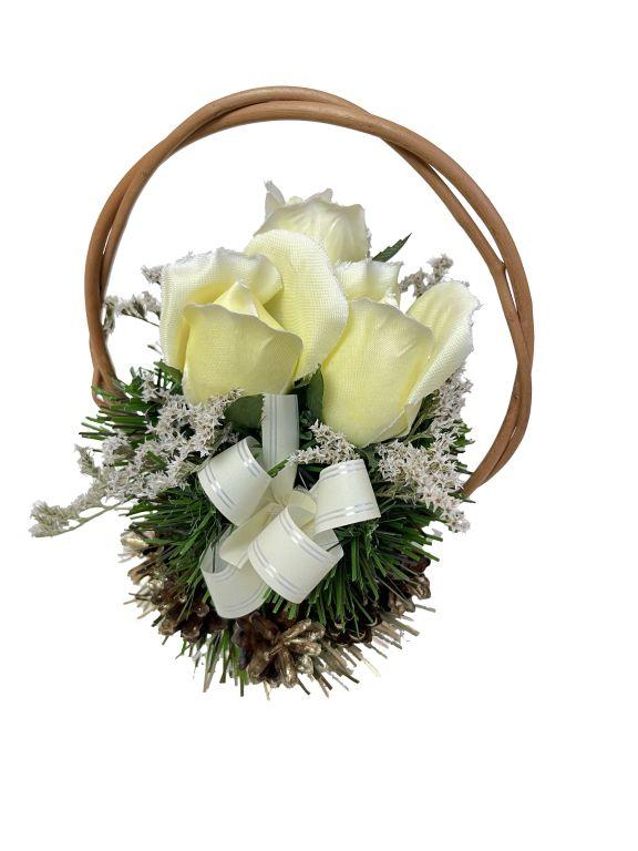 Květinový košík, malé velikosti, krémová