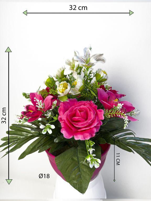 Dekorativní miska s umělou růží a orchidejí, růžová, 32 cm