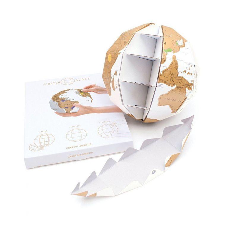 Stírací mapa – globus