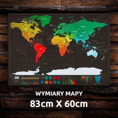 Stírací mapa světa - černá