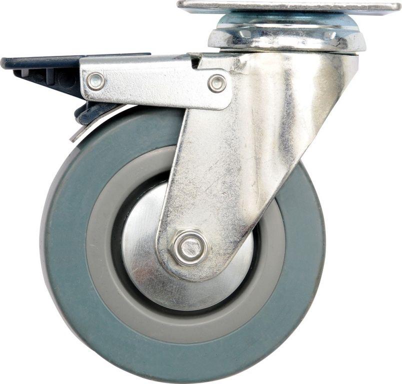 Kolečko otočné, gumové s brzdou, 30 kg, 75/21/104 mm
