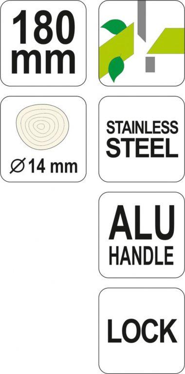 Nůžky zahr. 180mm se zámkem (průměr do 14mm)