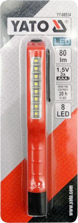 Lampa ruční 8 LED, s klipem, 80 lm