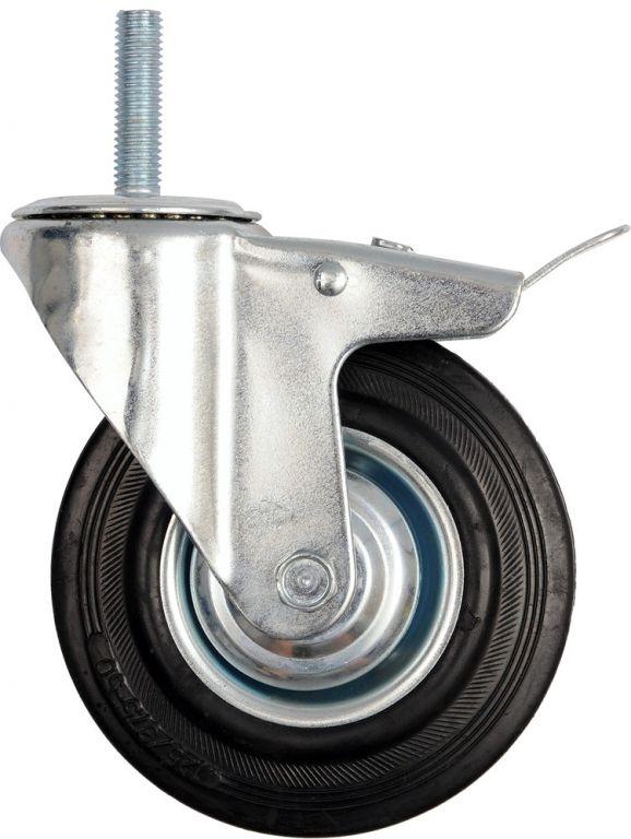 Kolečko otočné s brzdou, gumové se šroubem, 130 kg