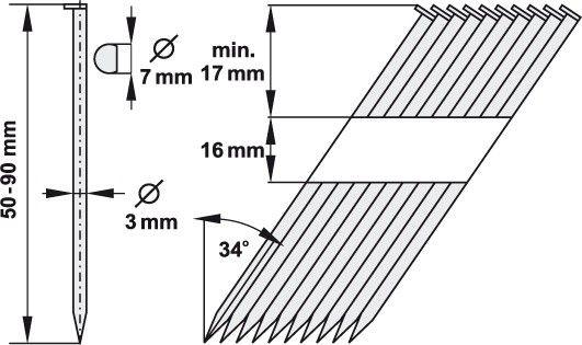 Hřebíky nastřelovací 3 x 75 mm 34° 500 ks