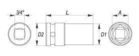 """Nástavec 3/4"""" rázový šestihranný hluboký 34 mm CrMo"""
