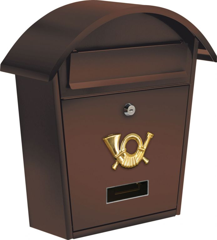 Poštovní schránka se stříškou oblou - hnědá