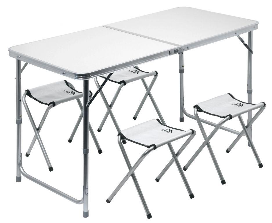 Set kemping DOUBLE šedý, 4 židličky
