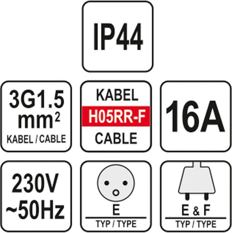 Prodlužovák elektrický s gumovou izolací 16 A – 40 m