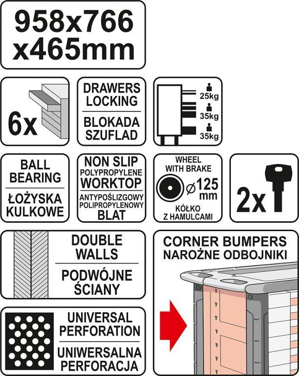 Pojízdná dílenská skříňka - 6 zásuvek