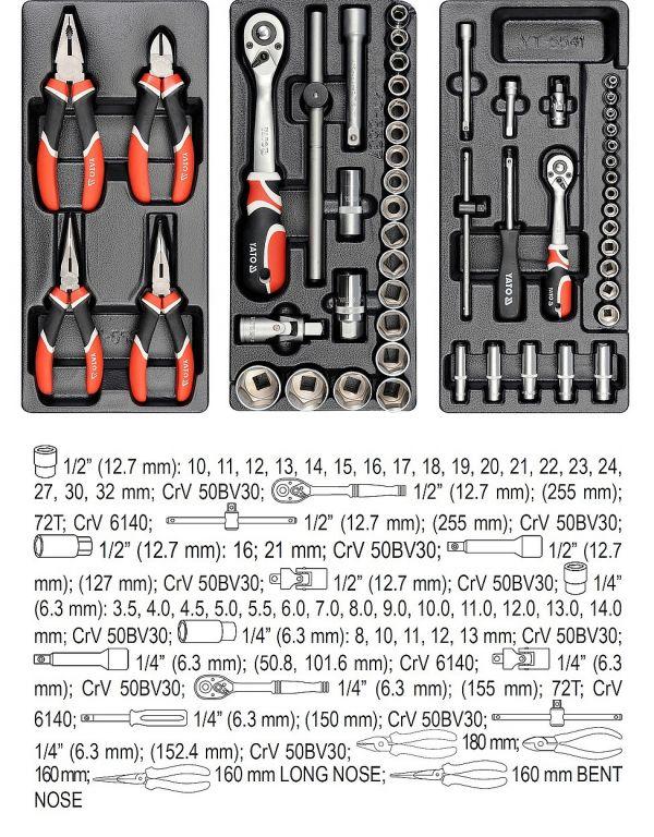 Pojízdná dílenská skříňka s nářadím - 7 zásuvek