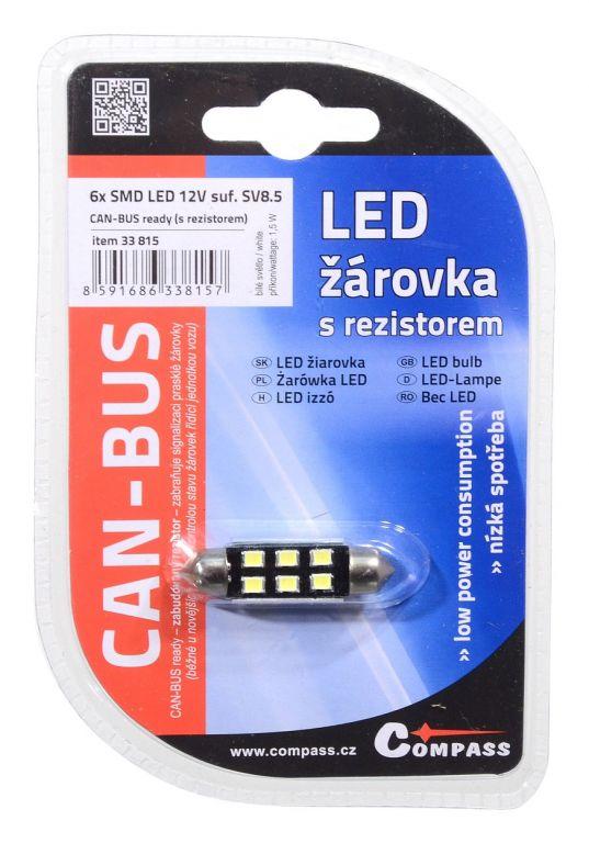 Žárovka 6 LED CAN-BUS s rezistorem – bílá, 12V