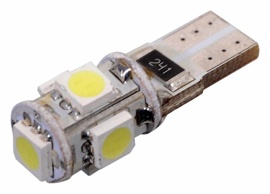Žárovka 5 SMD LED, s rezistorem CAN-BUS ready - bílá, 12V