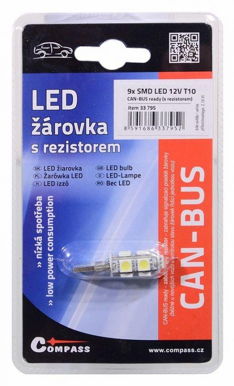 Žárovka 9 LED  CAN-BUS ready s rezistorem – bílá, 12V