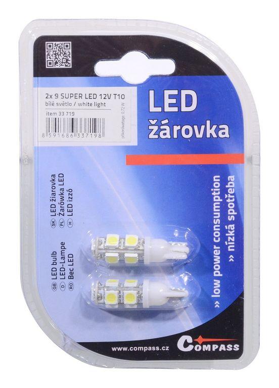 Žárovka 9 SUPER LED bílá - 2 ks, 12V