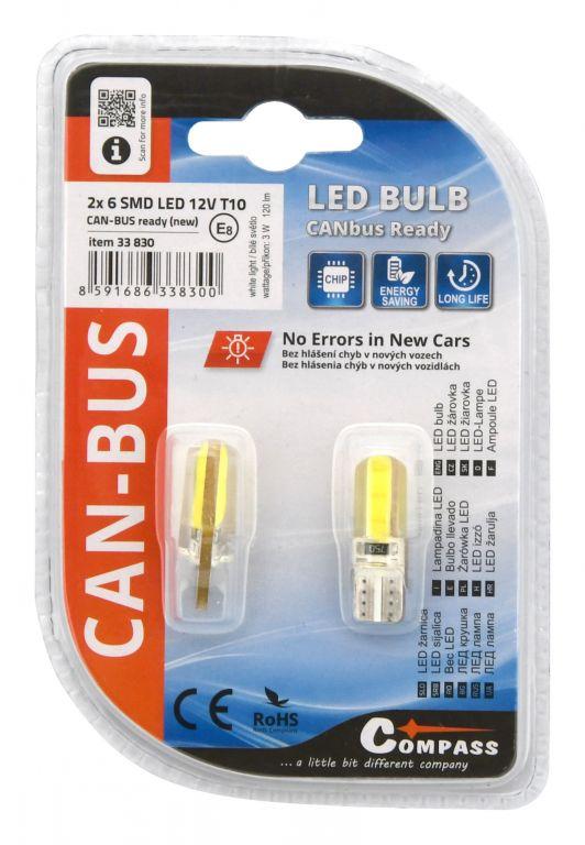 Žárovka 6 LED, NEW-CAN-BUS  - 2ks, 12V, bílá