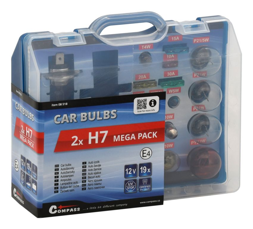 Žárovky 12V servisní box MEGA H7+H7+pojistky