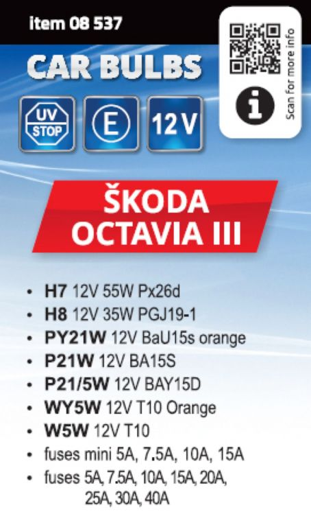Servisní box žárovek ŠKODA OCTAVIA III H7+H8