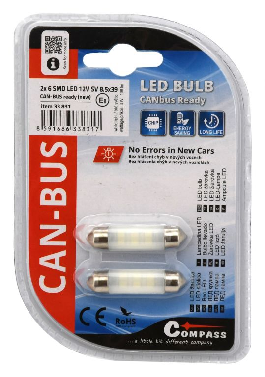 Žárovka 6 LED NEW-CAN-BUS - 2 ks, , bílá, 12V