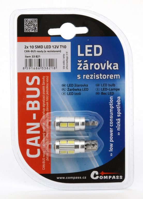 Žárovka 10 SMD LED 3chips 12V, T10 CAN-BUS ready bílá – 2ks