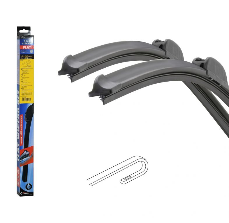 Stěrače FLAT SET (HOOK) 610 + 610 mm