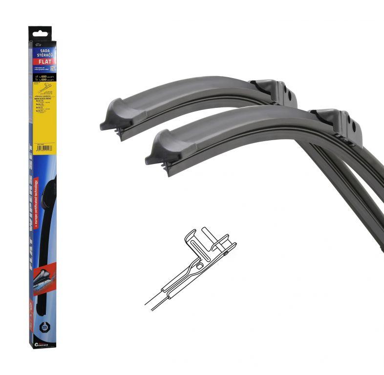 Stěrače FLAT SET (PIN) 680 + 680 mm