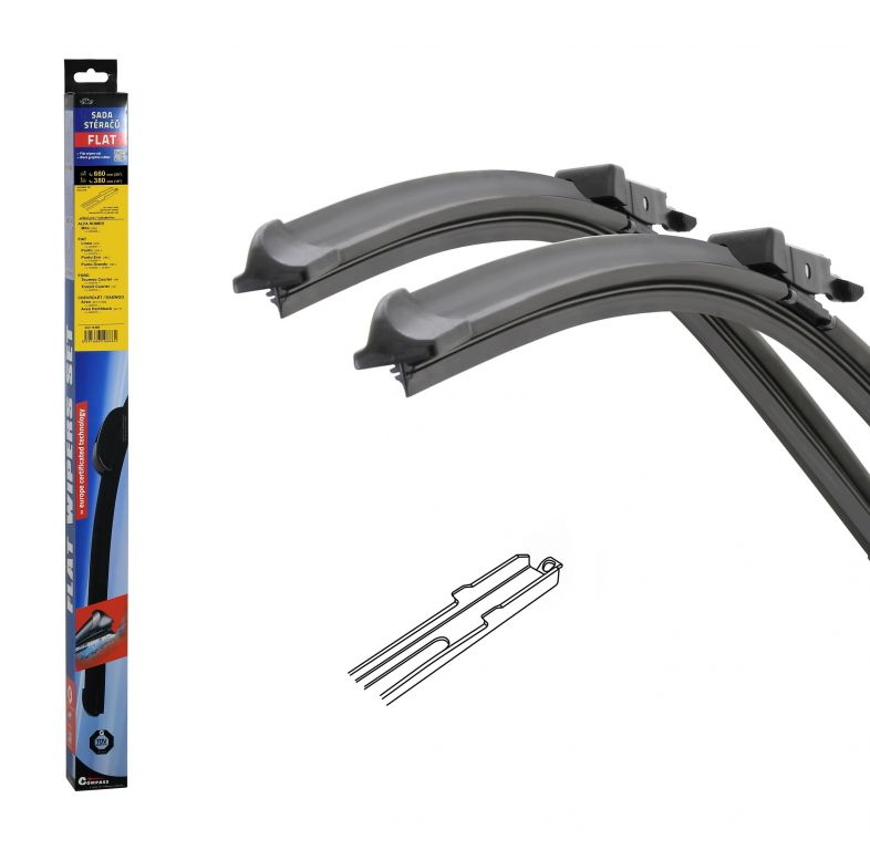 Stěrače FLAT SET (SLOT) 660 + 380 mm