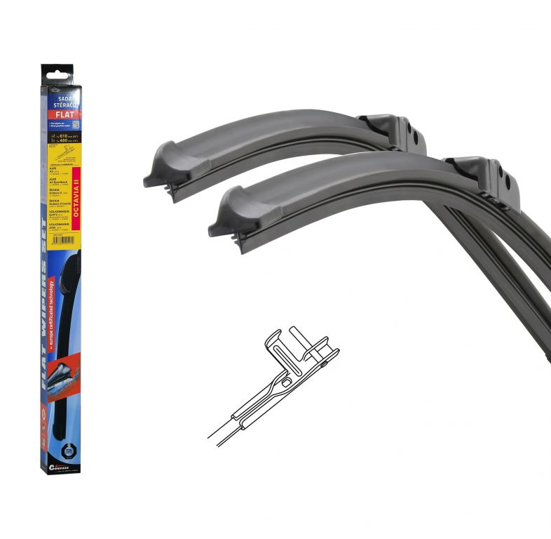 Stěrače FLAT SET (PIN) 610 + 480 mm OCT II