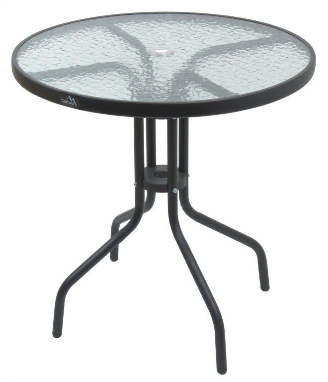 Zahradní kovový stůl se skleněnou deskou - 70 cm