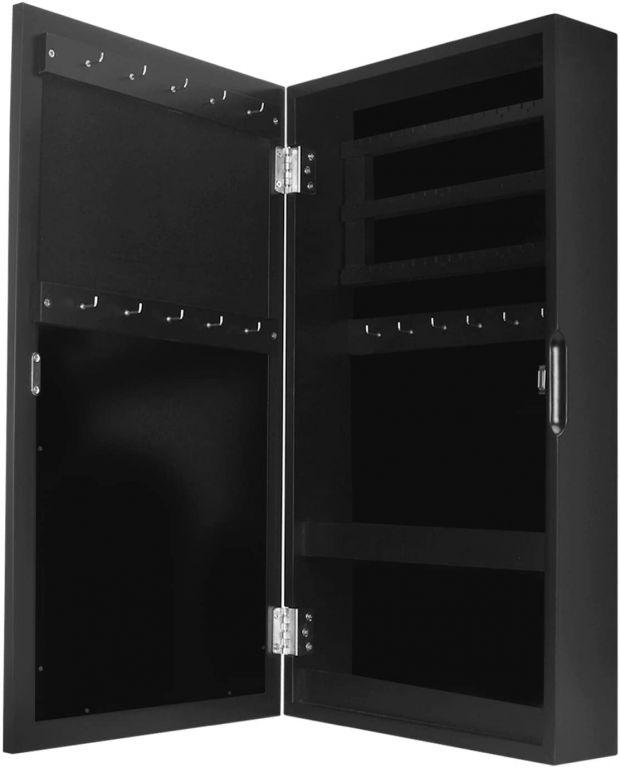 Šperkovnice se zrcadlem, 31 x 56 x 10 cm, černá