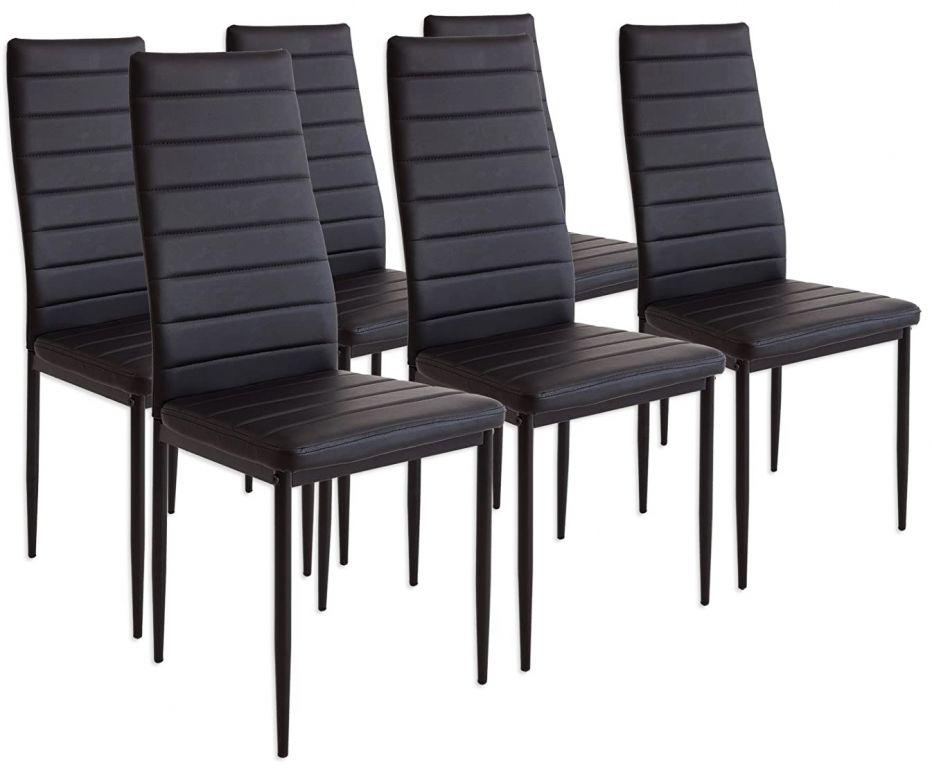 Sada jídelních židlí s PU kůží, černé, 6 ks