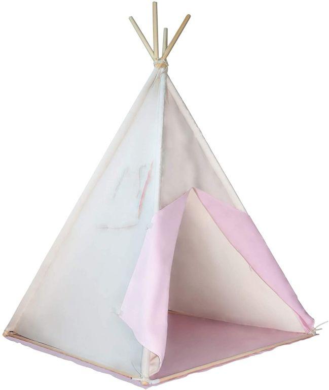 Dětský stan teepee, růžovo/béžový, s příslušenstvím