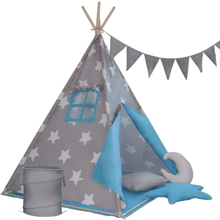 Dětský stan teepee, modro/šedý, s příslušenstvím + vlajky