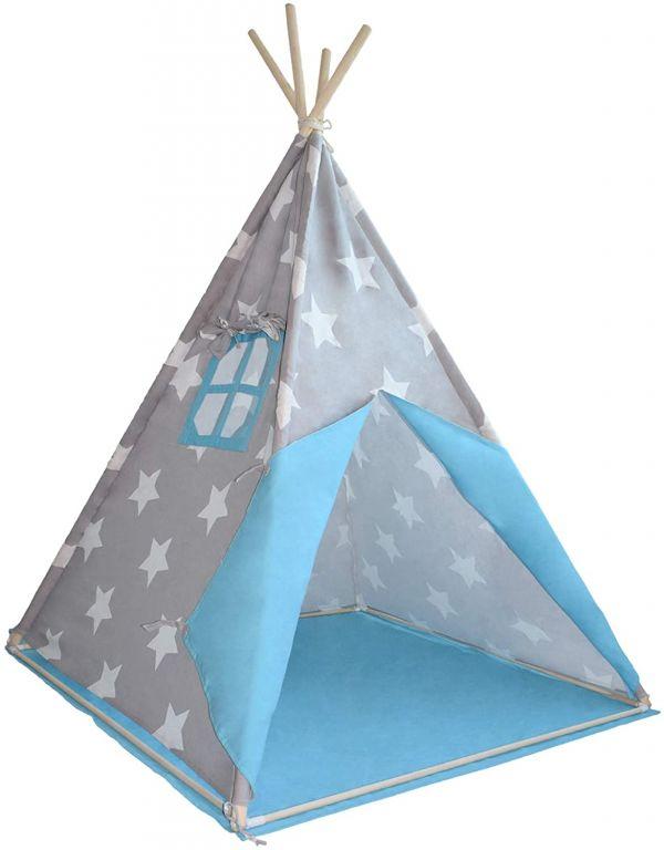 Dětský stan teepee, modro/šedý, bez příslušenství